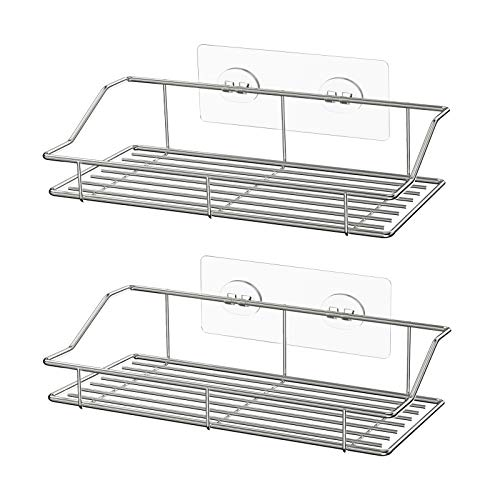 SMARTAKE 2-Pack Shower Caddy, Adhesive Bathroom Shelf Wall Mounted, No Drilling Strong Shower Caddies Kitchen Racks - Stainless Steel Storage Organizers (9.9 Inches), Silver