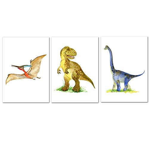 Póster de dinosaurio T Rex Triceratops Art Print de Safari Animales Cuadro Lienzo Pintura de la habitación de los niños Bebé Decoración de pared