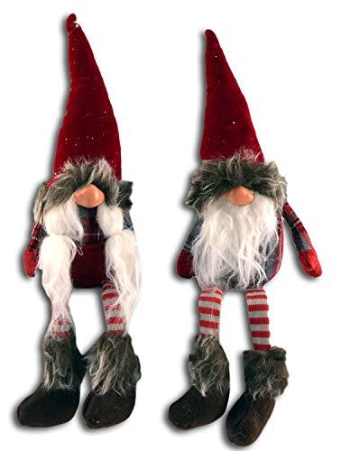Centesimo Web Shop Coppia Pupazzi Natalizi Arredo Grandi Natale Addobbo Decoro Gnomo Elfo Gnometti Maschio Femmina - Rosso - 30 cm