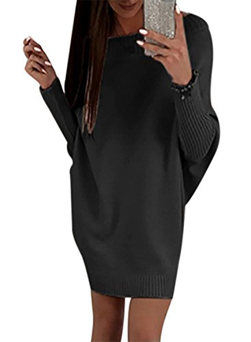 Happy Sailed Damen Fledermaus Ärmel Schulterfrei Strickkleid Sweater Kleid Pullover Kleid Pullikleid Strickpullover Kleid S-XXL, Schwarz, X-Large...