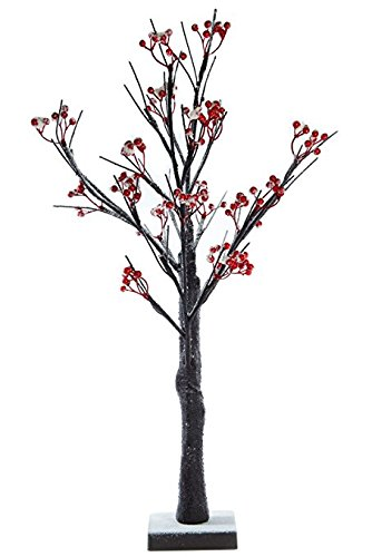 2ft Christmas Easter Small Removable Berry Twig Tree - Battery Powered Pre Lit 24 Warm White LED Lights - Indoor Use
