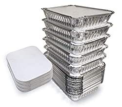 "55 Pack - 2.25 LB Aluminum Pan with Lids/Take Out Containers- 2.25Lb Capacity 8.7"" x 6.2"" x 2.1"""