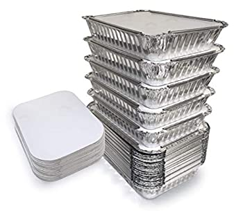 55 Pack - Aluminum Pan/Containers with Lids/Foil Containers/Aluminum Pans with Lids/Take Out Containers/Disposable Pans/Aluminum Foil Food Containers/Freezer meals containers  2.25 LB