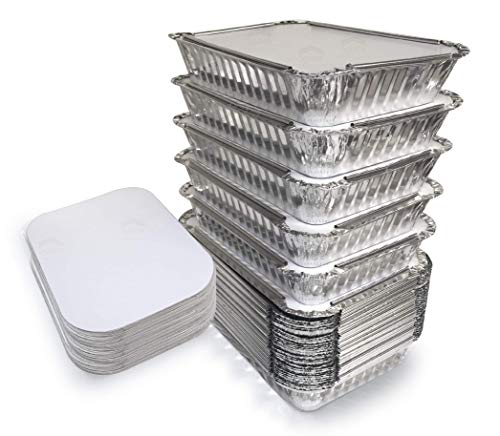 55 Pack - 2.25 LB Aluminum Pan / Containers with Lids / To Go Containers / Aluminum Pans with Lids / Take Out Containers / Aluminum Foil Food Containers From Spare - 2.25Lb Capacity 8.7' x 6.2' x 2.1'