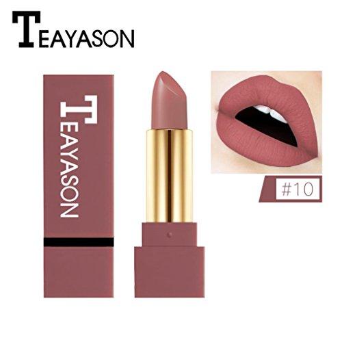 12 Farben Neue Mode nude Lippenstift matt, Huihong TEAYASON Wasserdicht Pigment Braun nude...