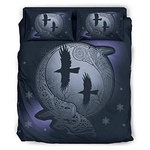 Hanebar Laickter - Set di 4 pezzi per letto in stile popolare, motivo corvi di Odino vichingo 228 x 264 cm, colore: Bianco