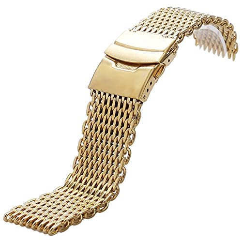 ZJSXIA Correa de reloj de 18 mm, 20 mm, 22 mm, 24 mm, color dorado, correa de reloj de acero inoxidable, repuesto para hombres y mujeres+2 barras de resorte correas de reloj (color: -, tamaño: 22 mm)