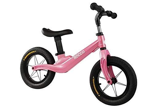 Lean Toys Bicicleta infantil Rocco Rosa, neumáticos neumáticos, de magnesio, 12 pulgadas