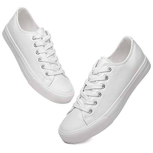 Women's White PU Leather Sneakers Low Top Tennis Shoes Lace up Casual Walking Shoes(White.US7)