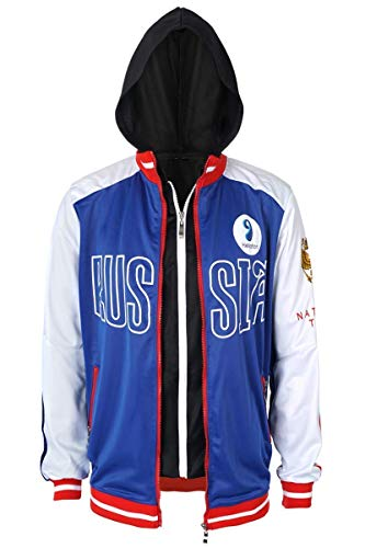 Cosplay Costume Training Jacket for Yuri Plisetsky Clothes Hooded Coat for Adults with Zip Tops S-XL (M)