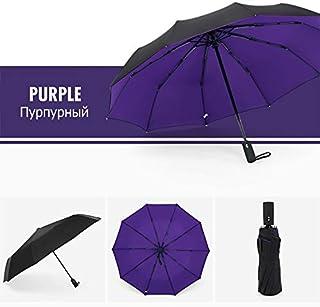 YSBH Windproof Double Automatic Folding Umbrella Female Male Ten Bone Car Luxury Large Business Umbrellas Men Rain Women Gift Parasol (Color : Purple)