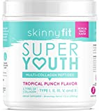 SkinnyFit Super Youth Multi-Collagen Peptide Powder Tropical Punch Flavor, Hair, Skin, Nail, & Joint Support, 58 Servings