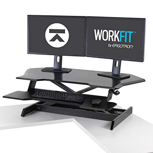 Ergotron – WorkFit Corner Standing Desk Converter - for Tabletops – 45 Inches, Black