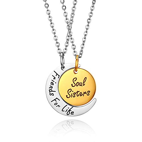 JewelryWe 2PCS Friendship Necklaces Best Friends/Couples Necklace Friends for Like/Soul Sisters Engraving Stainless Steel Moon Round Pendant Chain,Silver/Gold