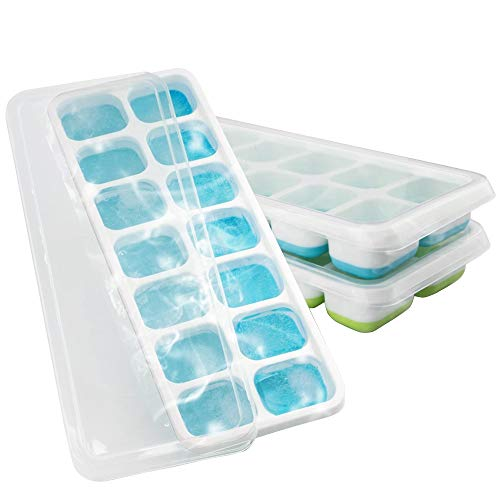 3 Packs Ice Cube Trays Easy Release Ice Cube Tray with Lids Flexible Silicone Stackable Ice Trays BPA Free and Dishwasher Safe