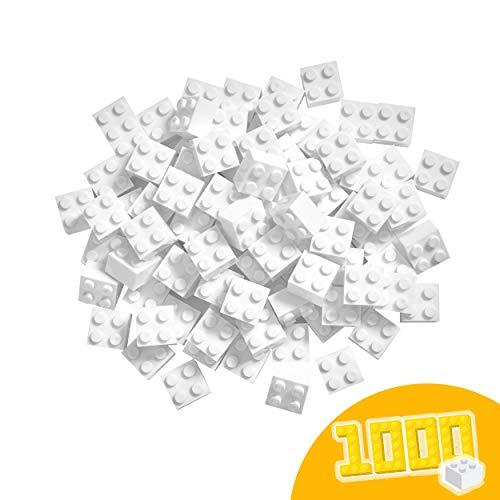 Simba 104114119 Blox, 1000 weiße Bausteine Made in Italy, 4er Steine, im Karton, incl. Füllbecher und 100 Prozent kompatibel mit bekannten Spielsteinen