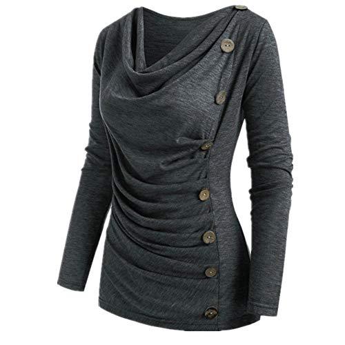N\P Camisa de mujer de gran tamaño cuello redondo manga larga costura botón camiseta diseño