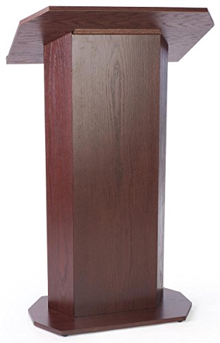 49-inch-Tall Pedestal Lectern with Concealed Shelf, Wood Veneer Presentation Podium for Standing Presenter - Red Mahogany Stain