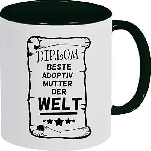 Shirtinstyle Kaffeepott Kaffeetasse, Diplom Beste Adoptiv Mutter Der Welt, Familie, Verwandtschaft, Kaffee, Tee, Spruch, Motiv, Logo, Farbe Schwarz