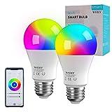 Bombilla LED Inteligente WiFi E27, WEILY 9W LED 1600 Million RGB Cambio de color Bombilla LED E27 Compatible con Alexa y Google Home Assistant, paquete de 2[Clase de eficiencia energética A +++]