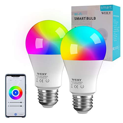 Bombilla LED Inteligente WiFi E27, WEILY 9W LED 1600 Million RGB Cambio de color Bombilla LED E27 Compatible con Alexa y Google Home Assistant, paquete de 2[Clase de eficiencia energética A +++]