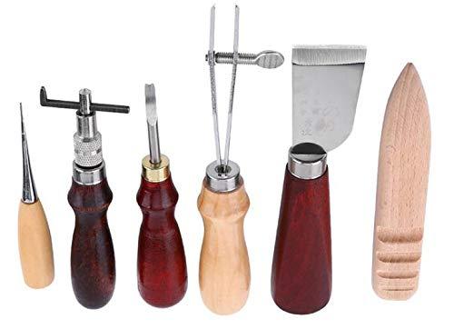 レザークラフト 工具セット 6点革工具セット 菱目打ち 縫い穴 手縫い 蝋引き糸 革細工 手縫い糸 ワックスコード レザー 糸 紐 革縫製用 針 革用の縫い針