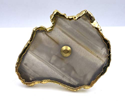 Agate Brown Stone Knobs, Clear Drawer Pulls, Cabinet Pulls - Pack of 10