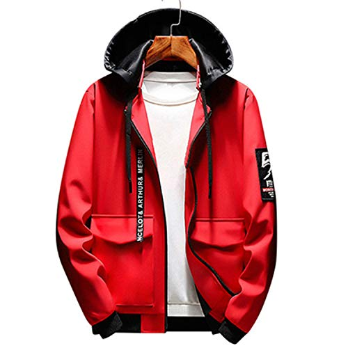 Beautymade Mens Bomber Jackets Male Hip Hop Streetwear Jackets Patchwork Windbreaker Coats Red