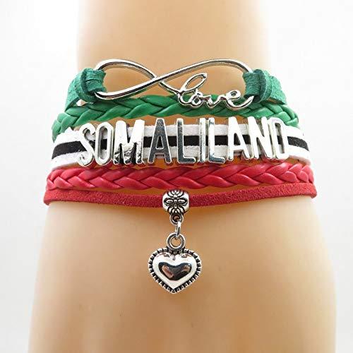Joulee Infinity Love Somaliland Bracelet Somaliland Flag Bracelet Heart Charm Leather wrap Bracelets & Bangles for Woman and Man