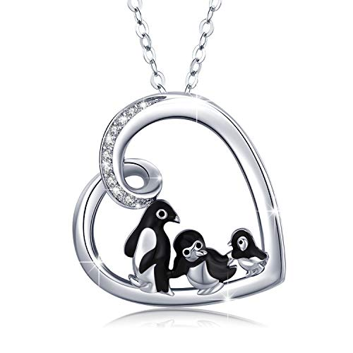 JUSTKIDSTOY Penguin Family Necklace 925 Sterling Silver Penguin Heart Pendant Cute Animal Necklace Jewelry Gifts for Women Wife