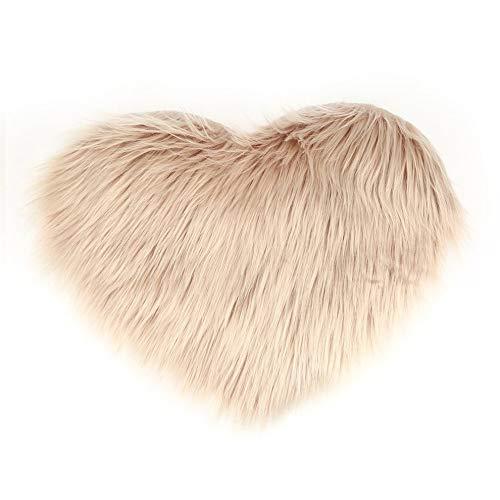 1 alfombrilla para sofá con diseño de corazón de imitación de lana de Peach