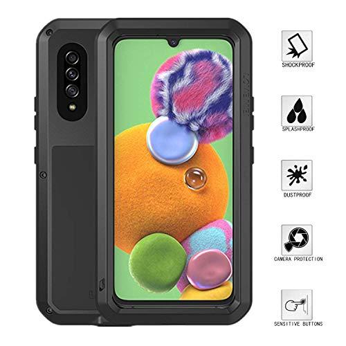 Cuerpo Completo Funda a para Love Mei Samsung Galaxy A90 5G,Prueba de Golpes Impermeable Dust Funda Al Aire Libre Híbrido Aluminio Metal Carcasas con Vidrio Templado (Negro)