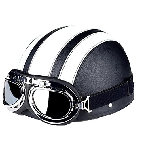 SACKDERTY Motocross Cross Helm mit Brillenmaske, Street Motorcycle Half Helm, Bike Cruiser Moped Scooter ATV Helm, DOT Zertifiziert (55-60cm)
