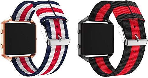 Correas para Relojes Nylon Compatible con Fitbit Blaze, Correa de Reloj de NATO para Mujer y Hombre con Hebilla de Acero Inoxidable (Pattern 1+Pattern 4)