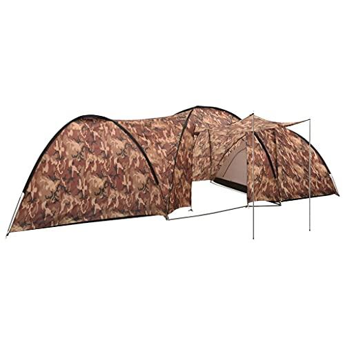 vidaXL Camping Igluzelt Campingzelt Kuppelzelt Zelt Strandzelt Familienzelt Festival-Zelt Outdoor 650x240x190cm 8 Personen Camouflage