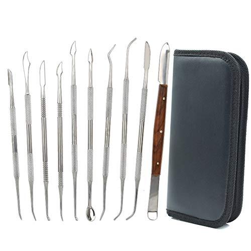 Wachsschnitzer-Werkzeuge, 10 Stück, doppelseitig, Edelstahl, für Wachs, Modelliermasse, Schnitzarbeiten, DIY Werkzeug-Set, Spachtel, Meißel, Schnitzset und Tragetasche für Sculpting,Keramik Schnitzen