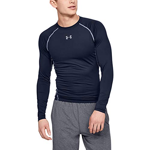 Under Armour Men's HeatGear Armour Compression Long Sleeve, Midnight Navy (410)/Steel, Medium