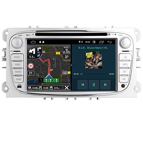 Autoradio Android 9.0 Coche GPS Radio para Ford Focus Mondeo Kuga C-MAX S-MAX Kuga Galaxy,Doble 2 DIN 7 Pulgadas Pantalla Táctil HD Reproductor de DVD Bluetooth WiFi Cámara USB Dab Radio Canbus