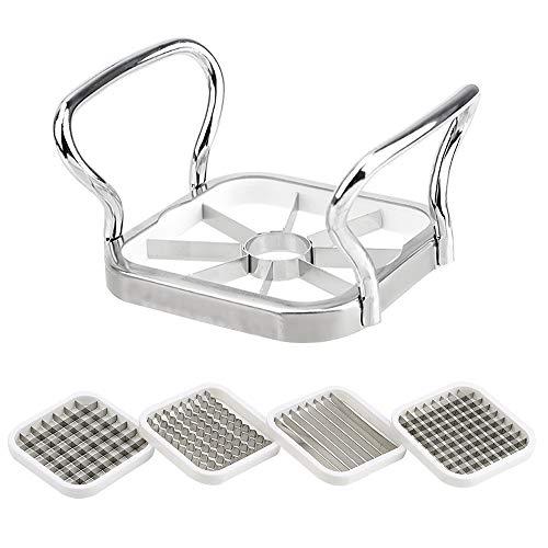 LOKOER 5 en 1 cortador de frutas de verduras de acero inoxidable trituradoras de patatas fritas de pera fritas de fritas de pera de fritas cortador de herramientas de cocina accesorios