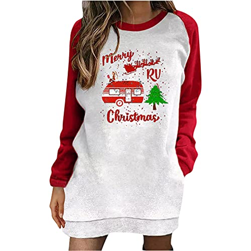 Pullover Sweatshirt for Women, Fall Holiday Merry Christmas Letter Print Crew Neck Tops Color Block Long Sleeve Blouse Red