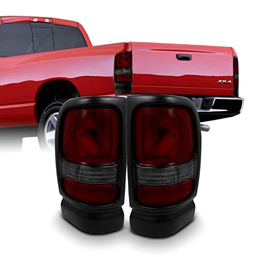 For Dodge Ram 1500/2500/3500 Pickup Truck Red Smoked Tail Lights Brake Lamps Replacement Left + Right