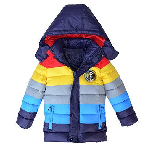 HUHU833 Baby-Kapuzen Mantel, Kindermantel Jungen Mädchen Dicker Mantel Gepolsterte Regenbogen Patchwork Daunenjacke Winterjacke Kleidung (Marine, 3Jahre -4Jahre)