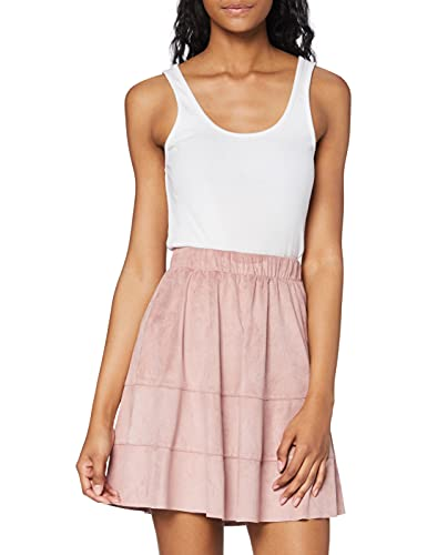 Only Onlcarma Faux Suede Skirt Otw Noos Falda, Rosa (Adobe Rose Adobe Rose), 42 (Talla del Fabricante: Large) para Mujer