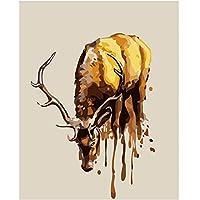 ゴールデンディアウォールアートキャンバス絵画ポスターリビングルーム家の装飾壁の装飾(60X80Cm)-24x32インチフレームなし