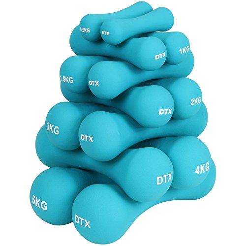 DTX Fitness Soft Touch Turquoise Dumbbells - Choice of Weight