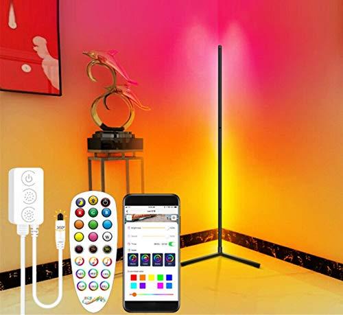 GJCrafts Lámpara de pie LED con control remoto regulable Sincronización de música Lámpara de pie de esquina LED Decoración de estilo minimalista moderno