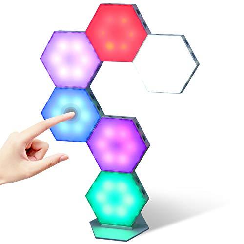 Stimmungslicht, Sechseckige Spleißen RGB-Leuchten mit Touch Steuerung USB Ladung, Modulare Wandleuchten LED Panel Lights für Heimwerkerdekoration (6 Pack)