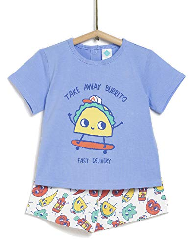 TEX - Pijama de 2 Piezas Manga Corta Unisex de Bebé, Azul Cielo, 36 Meses