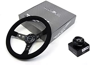 NRG 350MM Suede Steering Wheel + Hub Adapter Compatible With Honda civic EG 1992 - 1995