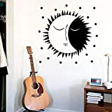 mlpnko Creative Moon Wall Art Applique Wall Art Sticker Mural Decoración del hogar Niños House Poster de Pared Accesorios 104x156cm